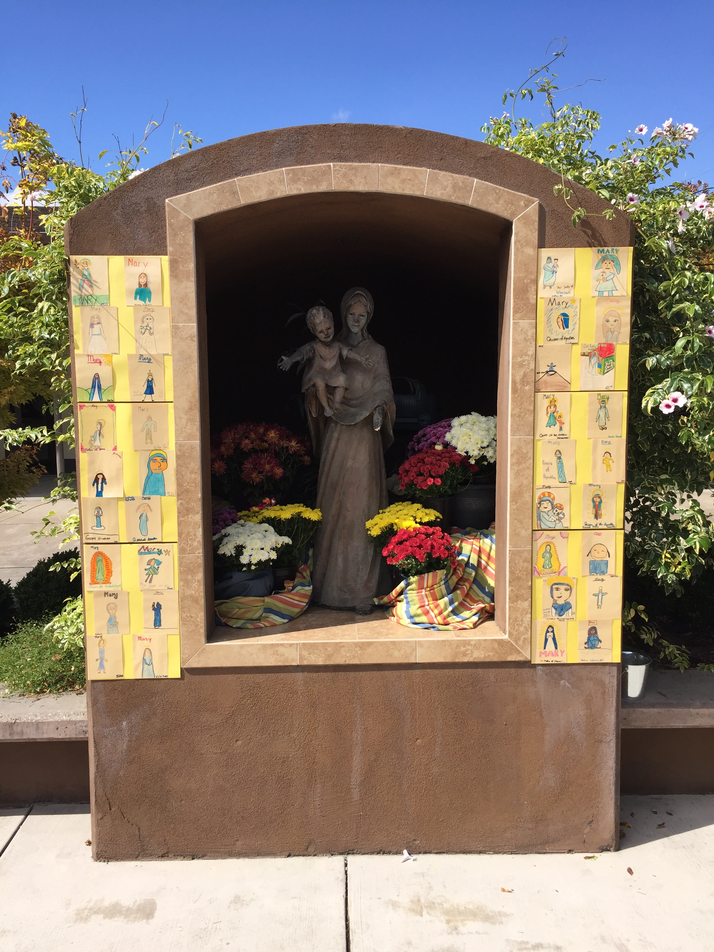 decorated Mary statue